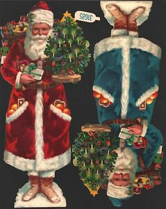 originale-Oblatenbilder-2-grosse-gepraegte-Weihnachtsmaenner-Z-amp-M-DIE-CUT-SCRAPS