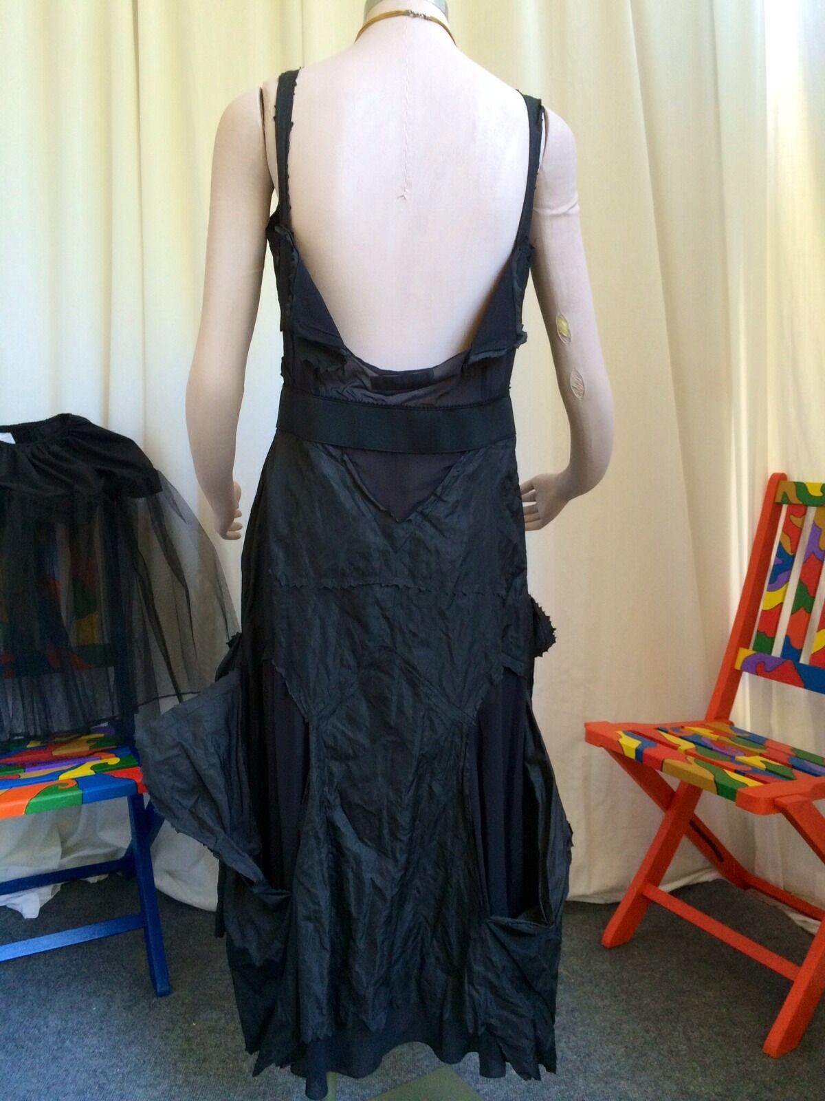 CHRISTIAN DIOR DRESS DRESS DRESS RARE LAGENLOOK ASYMMETRIC RIPPED CUT-OUT MESH INSERTS  12 e49aa5