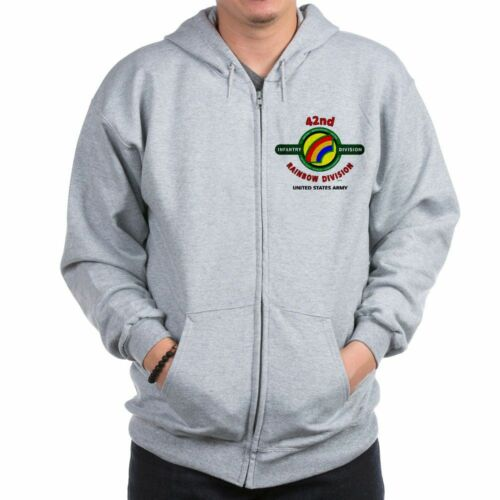 """42ND INFANTRY DIVISION WW II /"""" RAINBOW /"""" CAMPAIGN LEFT CHEST ZIPPER HOODIE"""