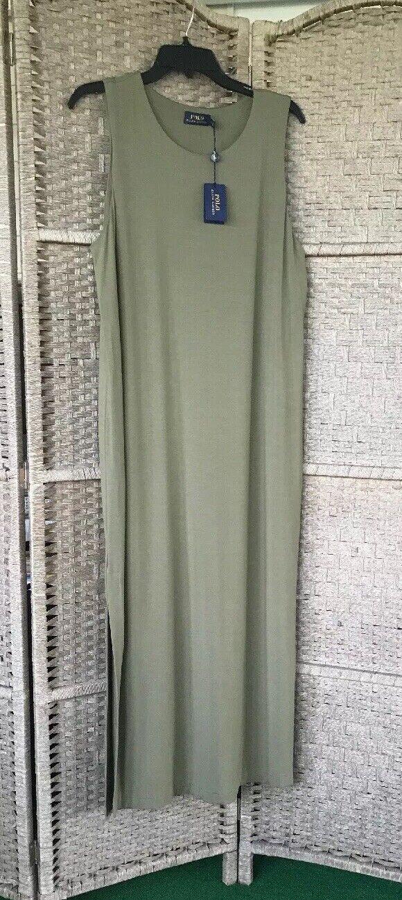 Polo Ralph Lauren Womens Sleeveless TShirt Maxi Dress Lg. NWT, Basic Olive Green