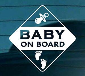 Bebe-a-bordo-de-Auto-Adhesivo-Pegatina-Signo-huellas-de-ventana-de-coche-invertir-Blanco