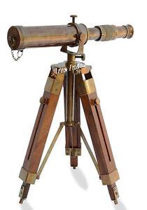 Antique-Vintage-Style-Brass-Telescope-w-Wooden-Tripod-Home-Office-Nautical-Decor