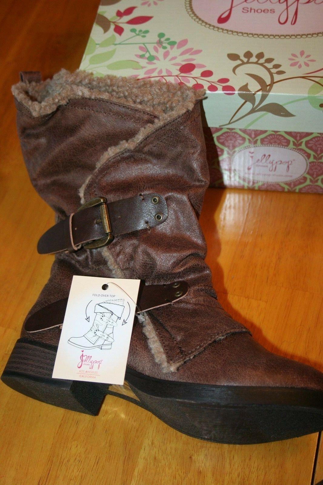 Brown Distress 6M Boots New in Box Buckle Design Side Side Side Wooly Look Trim 3600da