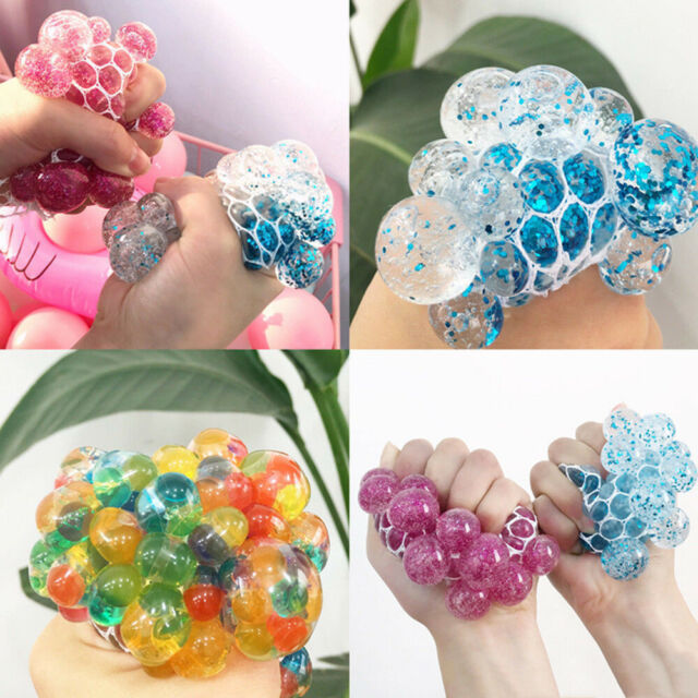 Novelty Anti-Stress Mesh Venting Ball Grape Squeeze Sensory Fruity Toys Gift