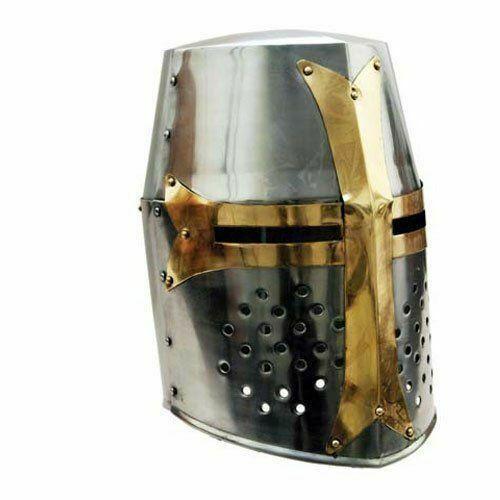 Medieval Knight Armor Crusader New Templar Helmet Helm w// Mason/'s Brass Cross
