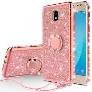 low priced 84cab c092b Details about Galaxy Express Prime 3/J3 2018 Glitter Cute Phone Case Girls  with Kickstand Pink