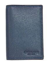 Coach F86763 Men's Black Bifold Card Case Crossgrain Leather