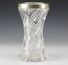 English Cut Crystal w/ Sterling Silver Overlay Vase - Birmingham - Makers Mark