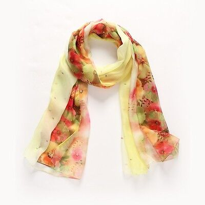 Silk Scarf Soft Sheer Half Sarong Wrap Roses Laces Flame Assorted Colors