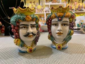 Teste di Moro Siciliane in ceramica di Caltagirone testa uomo o donna H13 vaso