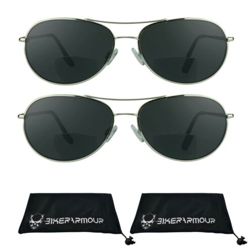 Piloten Aviator Bifokale Sonnenbrille Getönt Sun Lesebrille Betrüger Brillen 1.5