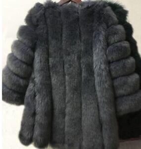 de Abrigo de 12 Uk Tamao 14 Xxl invierno Medio suave imitaciᄄᆴn piel lujoso y oscuro de Gris qrEwIpr