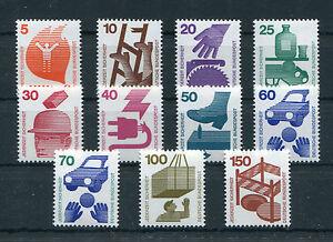 Bund-694-703-R-773-R-postfrisch-alle-mit-Nr-Rollenmarken-Unfallverhuetung