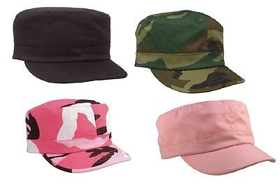 Women's Military Caps - Womans Black, Pink Camo Adjustable Fatigue Hats