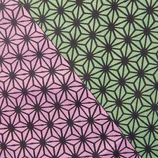 Asanoha Green Pink Reversible Japanese Tenugui Cotton Cloth - TB178