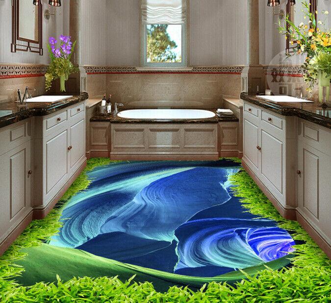 3D Art River Grass 64 Floor WallPaper Murals Wall Print 5D AJ WALLPAPER UK Lemon