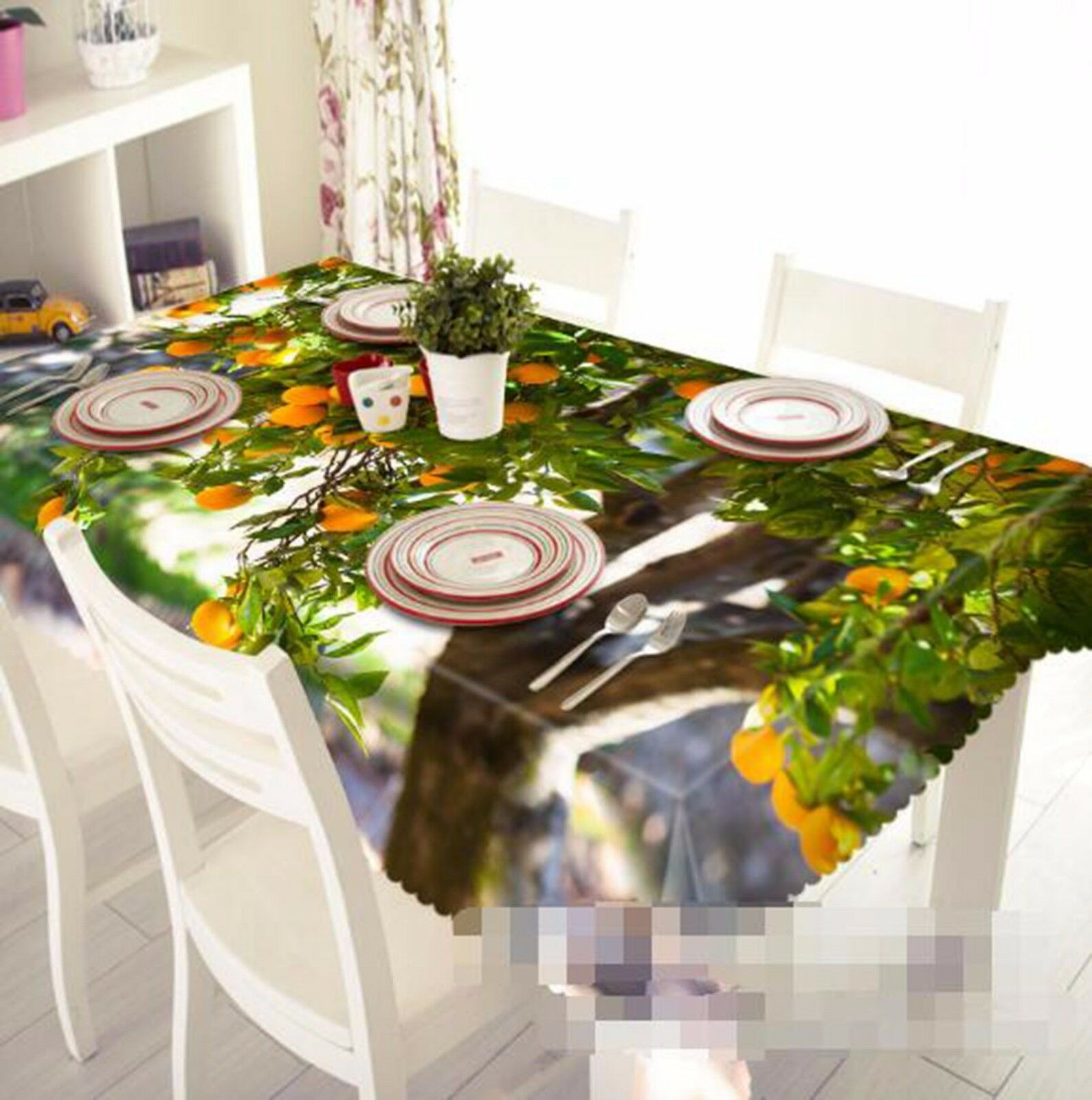 3D Arbre fruitier Nappe Table Cover Cloth fête d'anniversaire AJ papier peint Royaume-Uni Citron