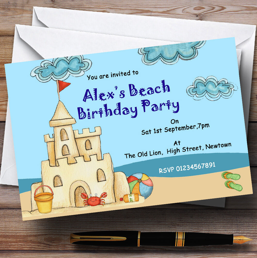 Beach Sandcastle Pool Theme Personalised Birthday Party Invitations - Th6
