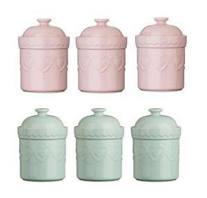 Tea Coffee Sugar Canisters Green Storage Jars Pastel Stoneware Heart