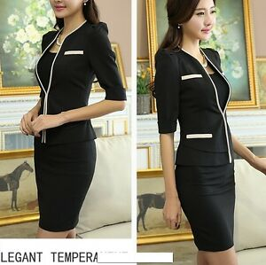 373b4cad79e7e élégant Costume ensemble femme noir veste manches trois quart jupe ...