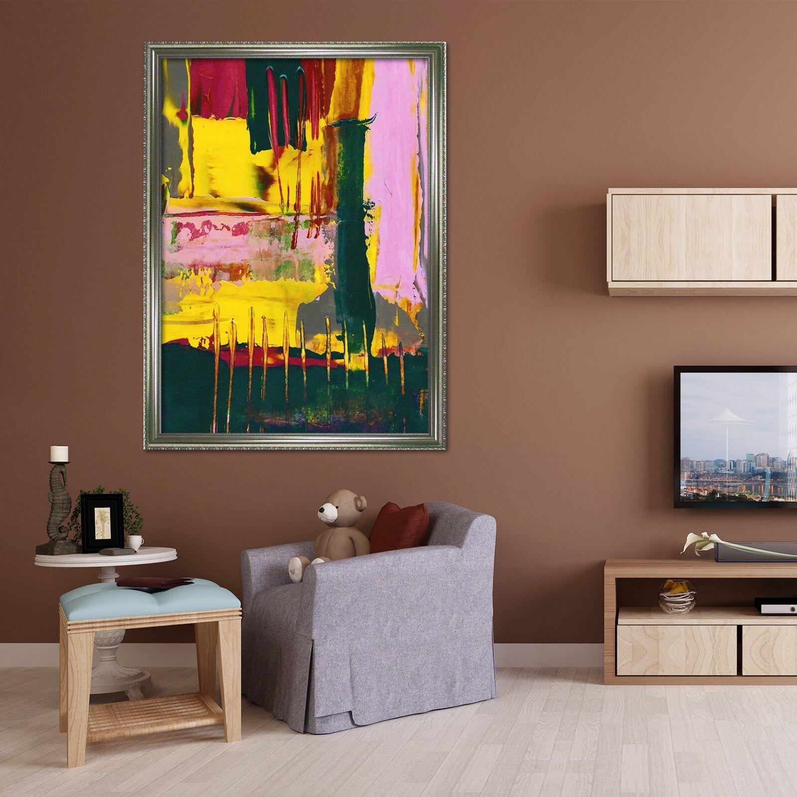 3d Jaune Résumé 69 Encadré Poster à la maison décor imprimer peinture art AJ