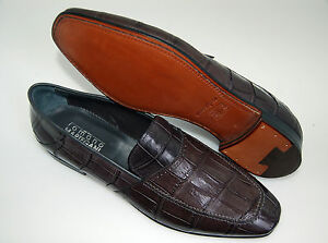 Grey Leather mocassin genuine Alligatore Alligator Sole Man 7eu 41 vero 4qFIH