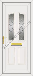 Clinton UPVC Front Door, Frame, Letterbox & Two Diamond Leaded Panels