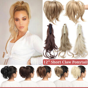 12 Short Ponytail Hairpiece Claw Clip On Flonded Flexible Messy Hair Extensions Ebay