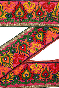 Vintage-Indian-Sari-Border-1Yd-Women-Antique-Sari-Trim-Ribbon-Embroidered-ST2514