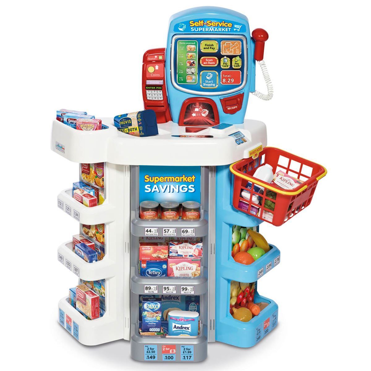 Infantil Permite Supermercado Set de Compras Kit Pantalla Táctil Escáner Cesta