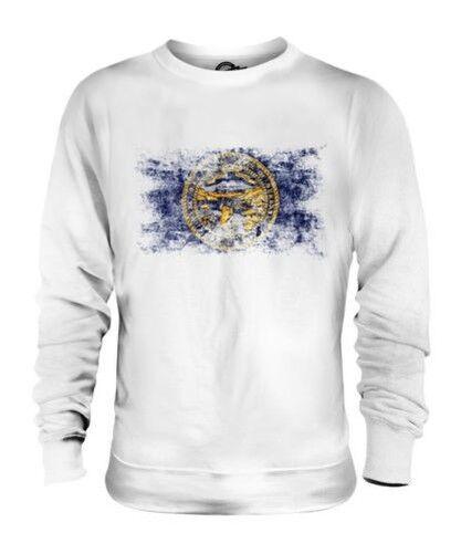 Nebraska État Drapeau Délavé Unisexe Pull Nebraska T-Shirt Jersey Cadeau