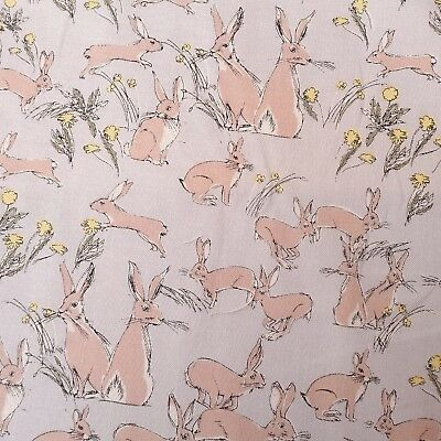 """by the FQ 44/"""" wide Quilts Makower Watercolour Rabbits on Grey Cotton Fabric"""