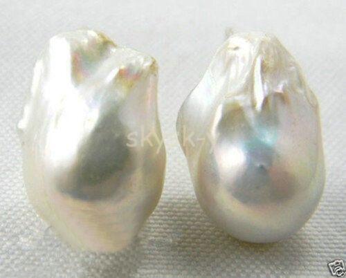 14x20 mm Blanco Barroco Keshi Pendiente De Plata