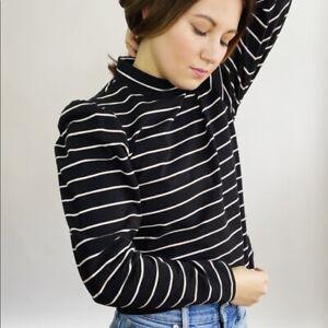 NWT Rebecca Taylor La Vie Striped Puff Sleeve Top Women's Size Small