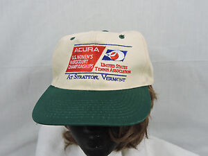 88a29a079 Details about Vintage 90's Acura US Womens Tennis Baseball Cap Hat Tan  Green One Sz Snapback