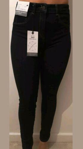 Next BNWT Jeans 360 4 Way Stretch High Rise SUPER Skinny dark blue NAVY 10 L