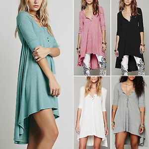 Womens-Long-Sleeve-Blouse-Hem-Tunic-Loose-Tops-Jumper-Party-Mini-Dress-Plus-Size