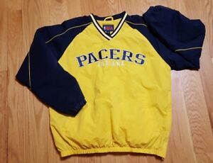 NBA-Indiana-Pacers-Warm-Up-cotton-lined-wind-Jacket-Mens-Size-Large-flawless