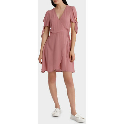 NEW Sass Emelia Tie Sleeve Wrap Dress Pink