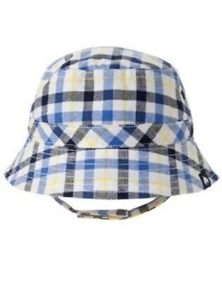 GYMBOREE BLOOMS /& BOATS BLUE PLAID BUCKET HAT 0 6 12 NWT