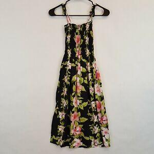 Avanti-Hawaiian-Print-Womens-Black-Floral-Rayon-Casual-Dress-Sz-S-Top
