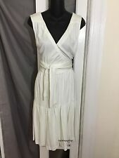 NWT Diane von Furstenberg DVF White Cotton Jersey Wrap Dress size 6 Sample
