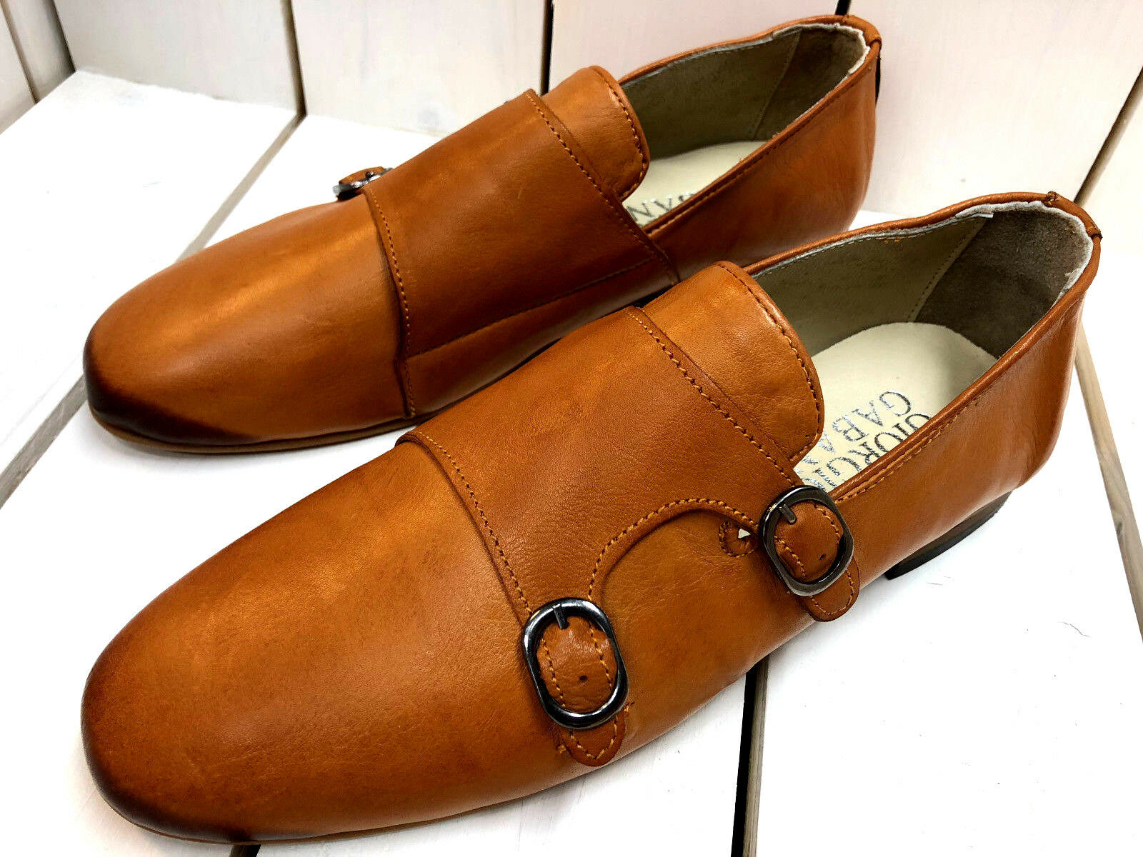 Giorgio aneli Slipper Camel doppelmonk mocasín neumáticos cuero zapatos caballero 43