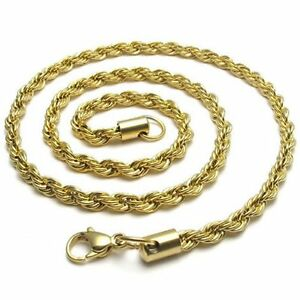 """16/""""-40/"""" 18K Gold Plated Stainless Steel Rope Necklace Chain HN4 USA Seller"""