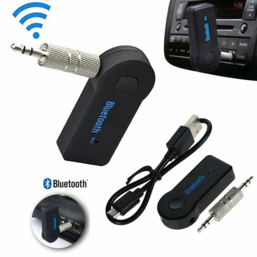 Black 3.5mm Wireless Bluetooth AUX  Car Music Receiver Adapter w// Mic For Phone