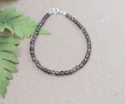 .Silber,,4 mm, 17 //18//19 // 21 // 23  cm Rauchquarz   Edelstein  Armband, D-12
