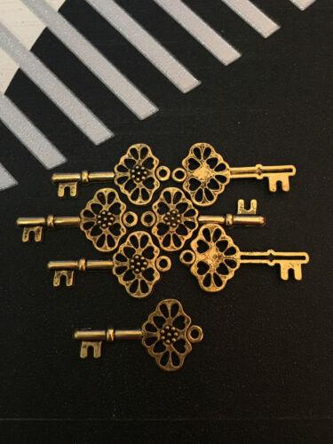PJ331//12pc Tibetan Gold Charms key Pendant Beads Findings Wholesale