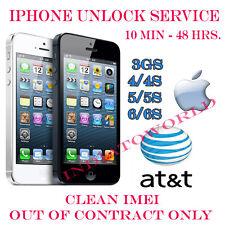 AT&T ATT iPhone 6S+/6/6+/5S/5C/5/4S/4/3GS  Factory Unlock Service