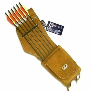 CAROL-TRADITIONAL-ARCHERY-SUEDE-LEATHER-SIDE-HIP-ARROW-QUIVER-AQ142-R-H