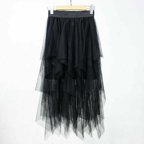 Women Ladies High Waist Tulle Tutu Skirt Elastic Mesh Net Solid Layered Dress UK